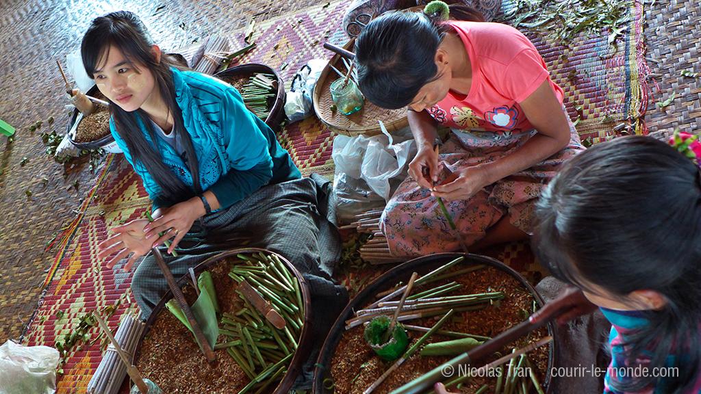 fabrication de cheroots sur le lac Inle, maisons sur pilotis, Birmanie