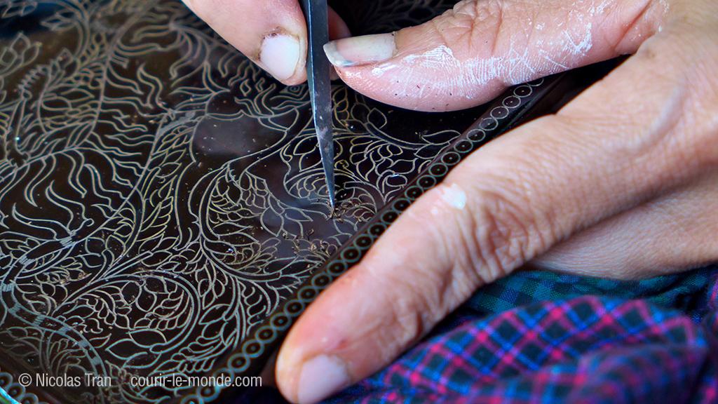 Gravure sur laque, Birmanie